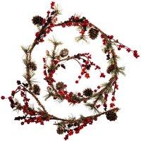 Girlande mit Beeren und Zapfen natur-rot 120cm