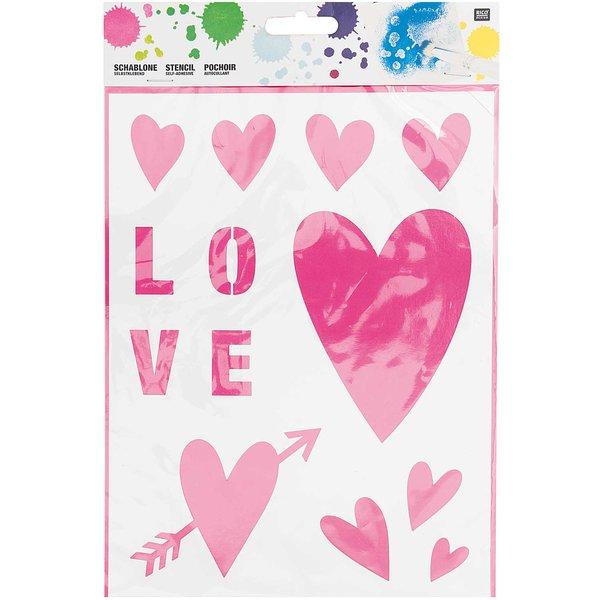Rico Design Schablone Herzen 18,5x24,5cm selbstklebend