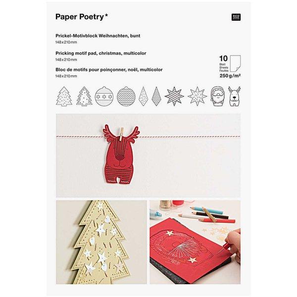 Paper Poetry Prickelblock Weihnachten mehrfarbig 21x14,8cm 10 Seiten