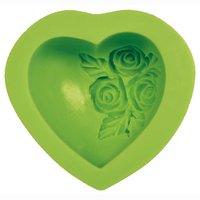 VIVA DECOR 3D Silikonform Herz mit Rosen 7,5cm
