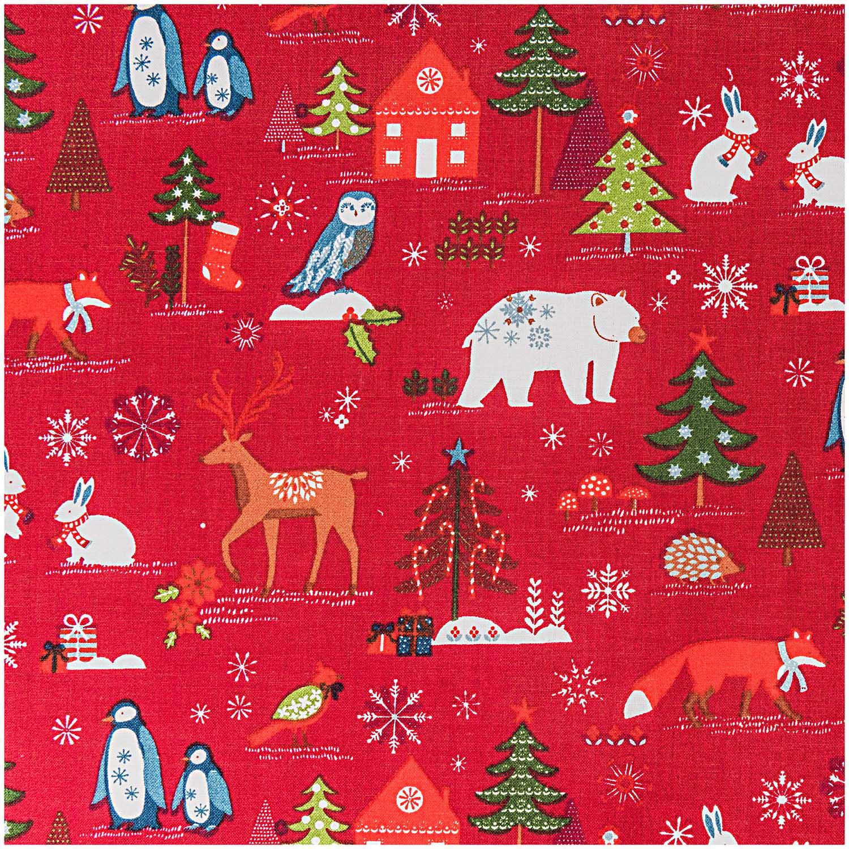 Roter Weihnachtsstoff mit Wintermotiv