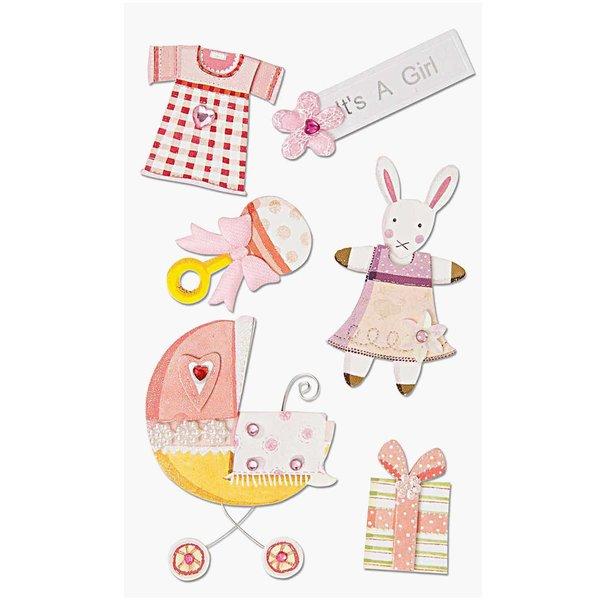 Paper Poetry Maxi 3D Sticker Geburt Mädchen