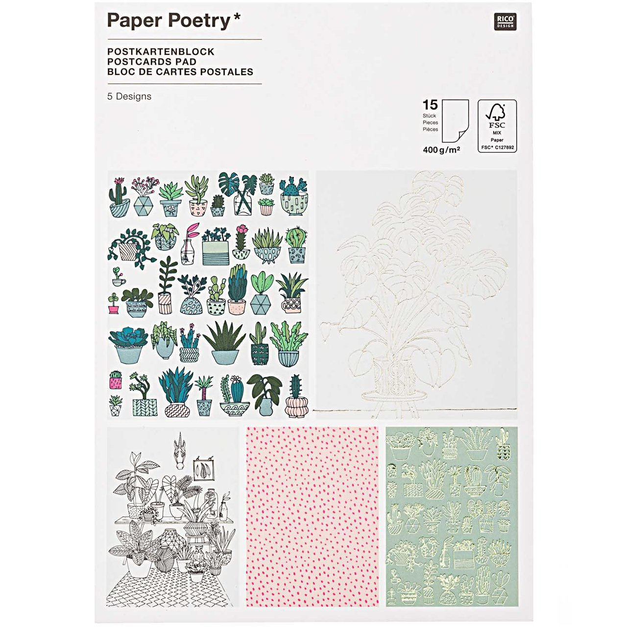 Paper Poetry Postkartenblock Hygge Plants 12,5x...