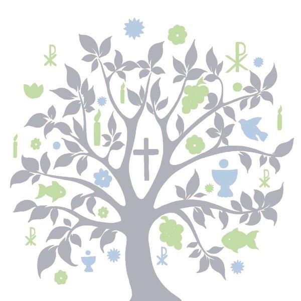 Ambiente Serviette Kommunion Symbol Baum silber 33x33cm 20 Stück