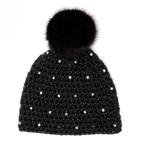 Rico Design Wild Wild Wool Häkelset Mütze mit Bommel und Strass