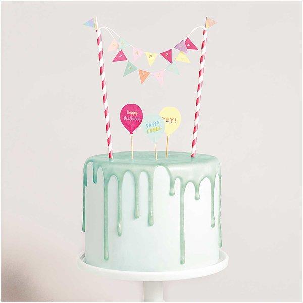YEY! Let's Party Kuchendekoration Happy Birthday pastell