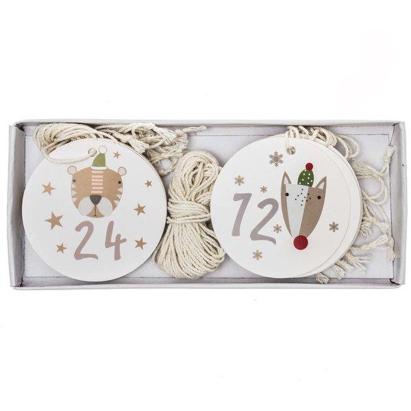 Adventskalenderzahlen weiß-bunt 24 Stück