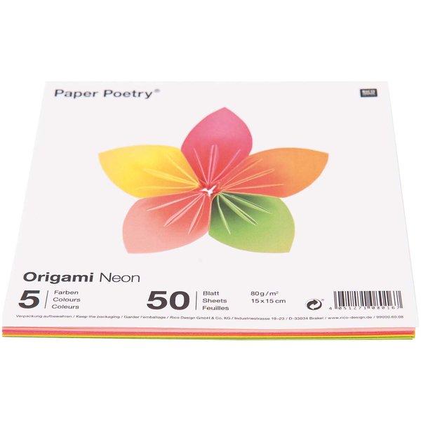 Origami Blaetter , Paper Poetry Origami Neon 15x15cm 50 Blatt 5 Farben Günstig Kaufen
