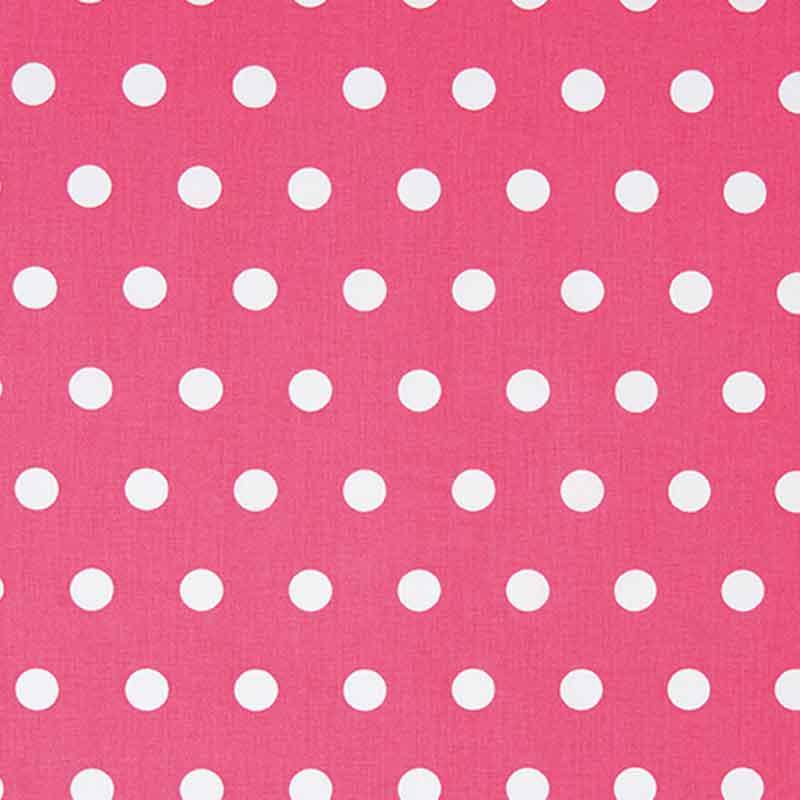 Azaleefarbener Baumwollstoff mit großen weißen Punkten von Rico Design