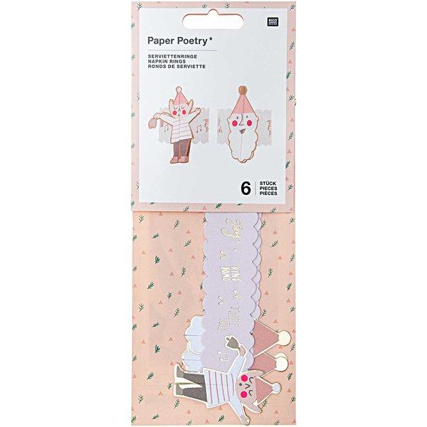 Paper Poetry Serviettenringe Jolly Christmas pastell 6 Stück