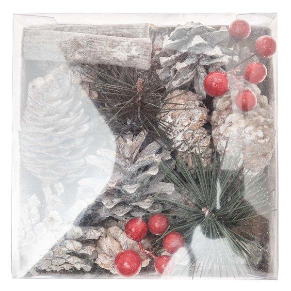 Weihnachtsdeko Beeren, Zweige und Zapfen natur-rot