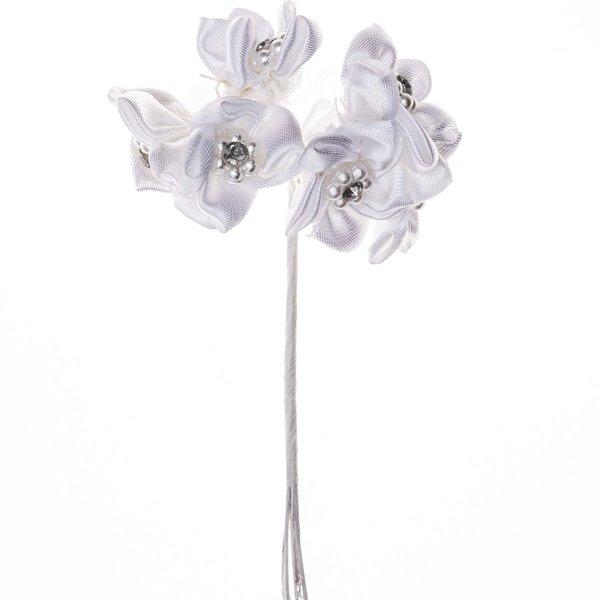 Satinblüte mit Strass und Perlen weiß 6 Stück