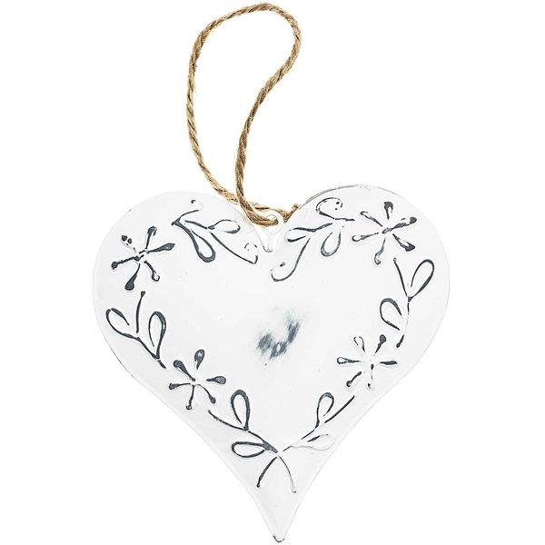 Metall-Herz zum Hängen weiß 10cm