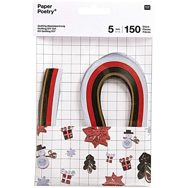 Paper Poetry Quilling Bastelset X-MAS rot-grün 5mm 150 Stück