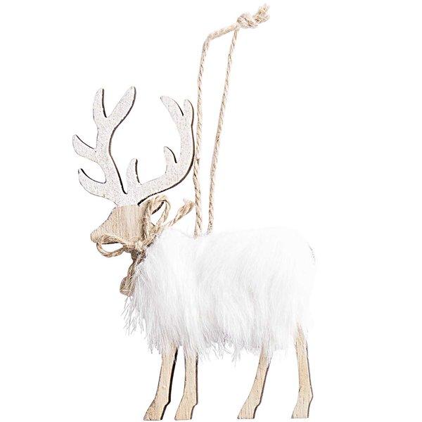 Filz-Hirsch mit Schal natur-weiß 12x9cm