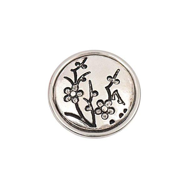 Rico Design Knopf Blumen schwarz-grau 14mm