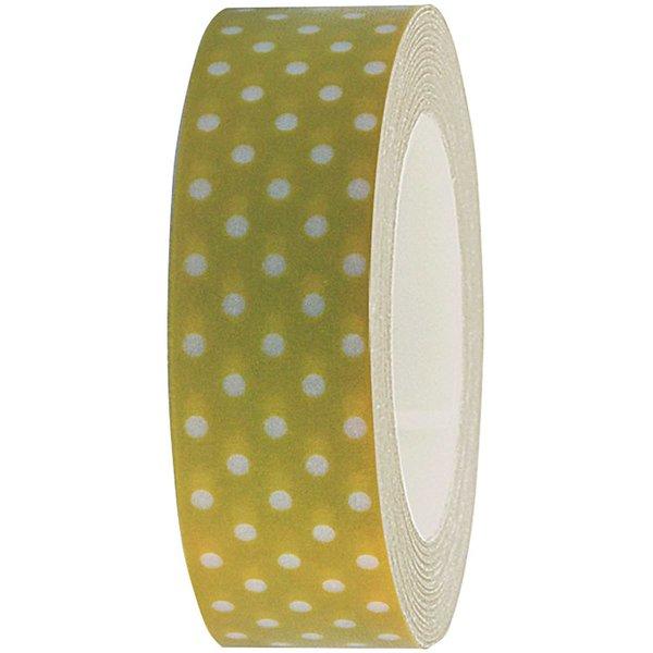 Rico Design Tape oliv-weiße Punkte 15mm 10m