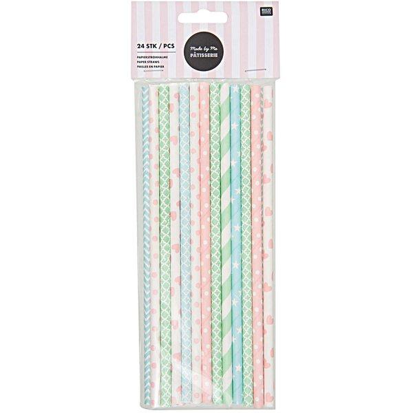 Rico Design Papierstrohhalme pink-blau-grün mix 24 Stück