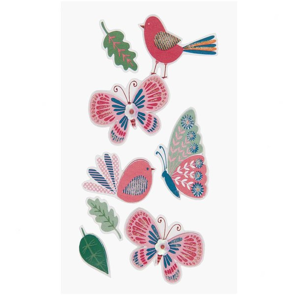 Paper Poetry 3D Sticker Vögel-Schmetterlinge