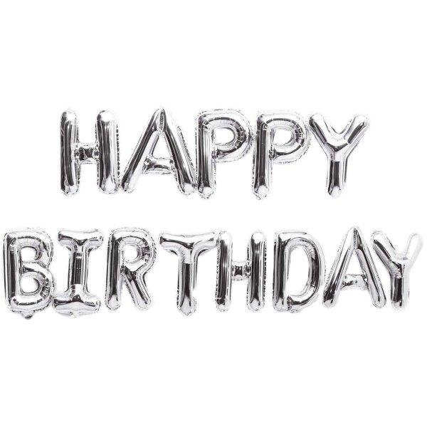 YEY! Let's Party Folienballon-Set Happy Birthday silber 13teilig