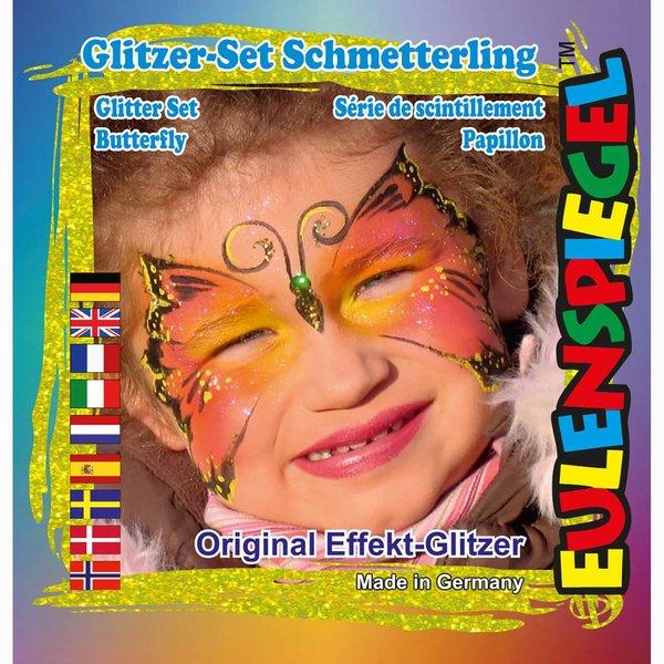 Eulenspiegel Glitzer Schmetterling 4er Set