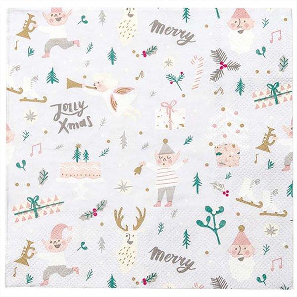 YEY! Let's Party Servietten Jolly Weihnachten weiß 33x33cm 20 Stück