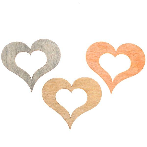 Herzstreu orange-natur-grau 4cm 12 Stück