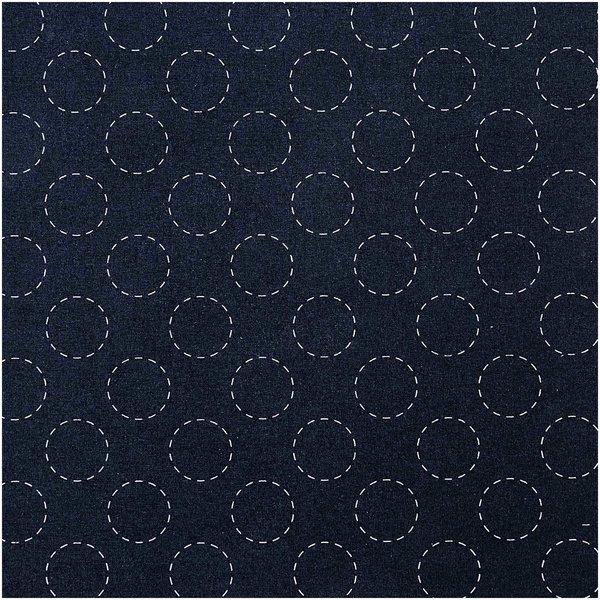 Rico Design Druckstoff Jardin Japonais Kreise dunkelblau-creme 50x140cm