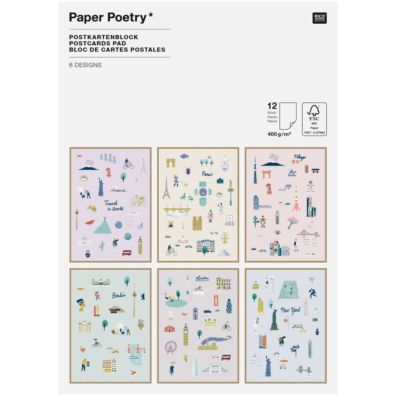 Paper Poetry Postkartenblock Travel the World 1...
