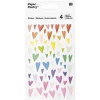 Paper Poetry Sticker Herzen mehrfarbig verformt 10x19cm 6 Bogen
