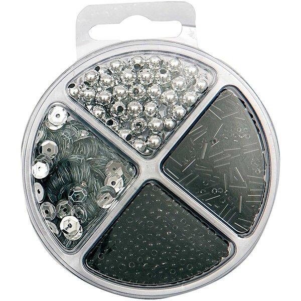 Rico Design Pailletten-Perlenset silber-schwarz 40g