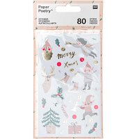 Paper Poetry Sticker Jolly Christmas pastell 4 Blatt