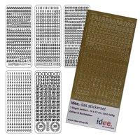 Stickerset Zahlen & Buchstaben gold 5 Bogen