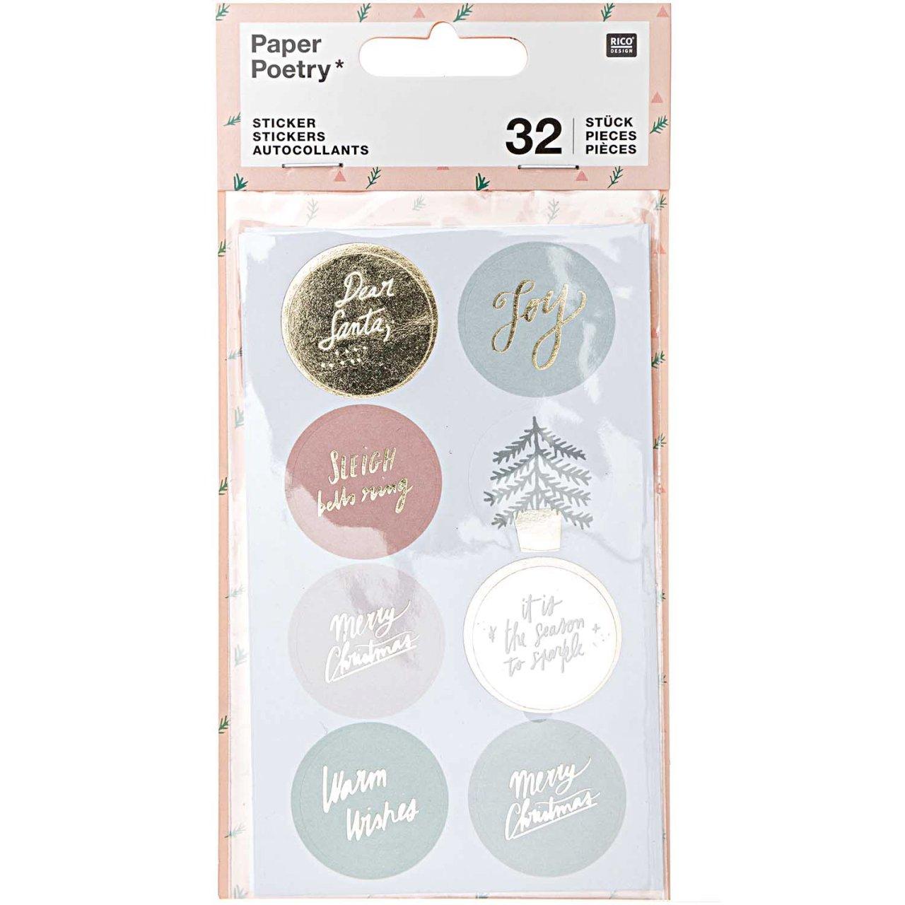 Paper Poetry Sticker Jolly Christmas pastell rund 4 Blatt kaufen »