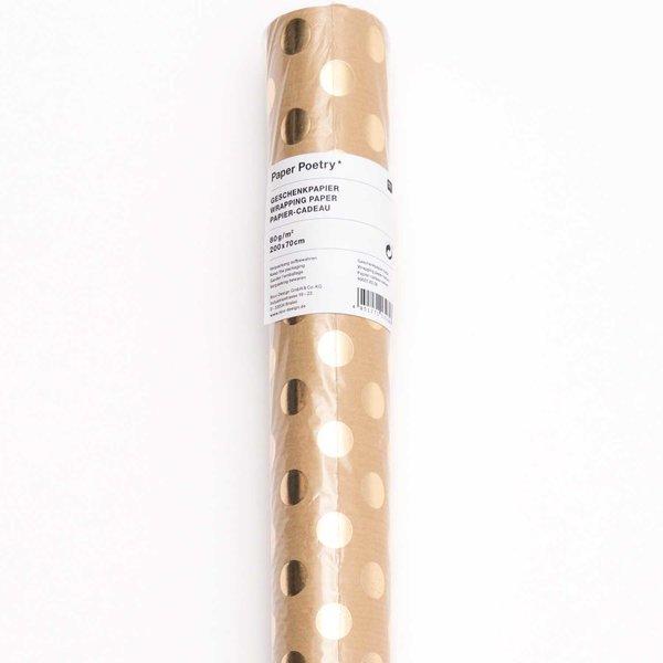 Paper Poetry Geschenkpapier Punkte natur-gold 70cm 2m Hot Foil