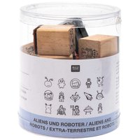 Rico Design Stempelset Aliens & Roboter 2x2cm 15 Stück