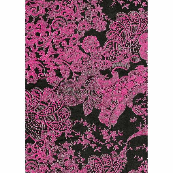 décopatch Papier Spitze pink-schwarz 3 Bogen