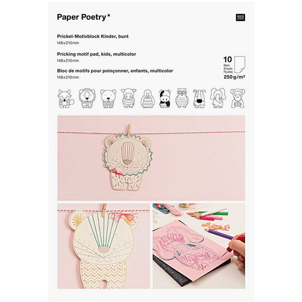 Paper Poetry Prickelblock Tiere mehrfarbig 21x14,8cm 10 Seiten