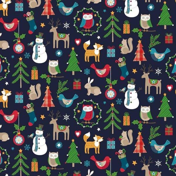 Rico Design Stoff Weihnachten Tiermotive blau 50x55cm