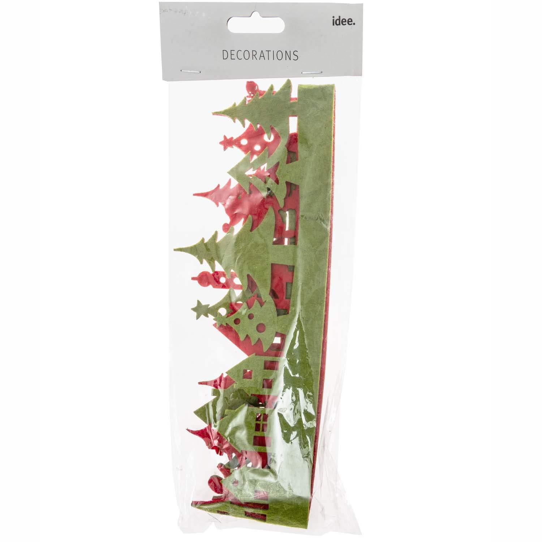 Filzband Weihnachtslandschaft grün rot 1m