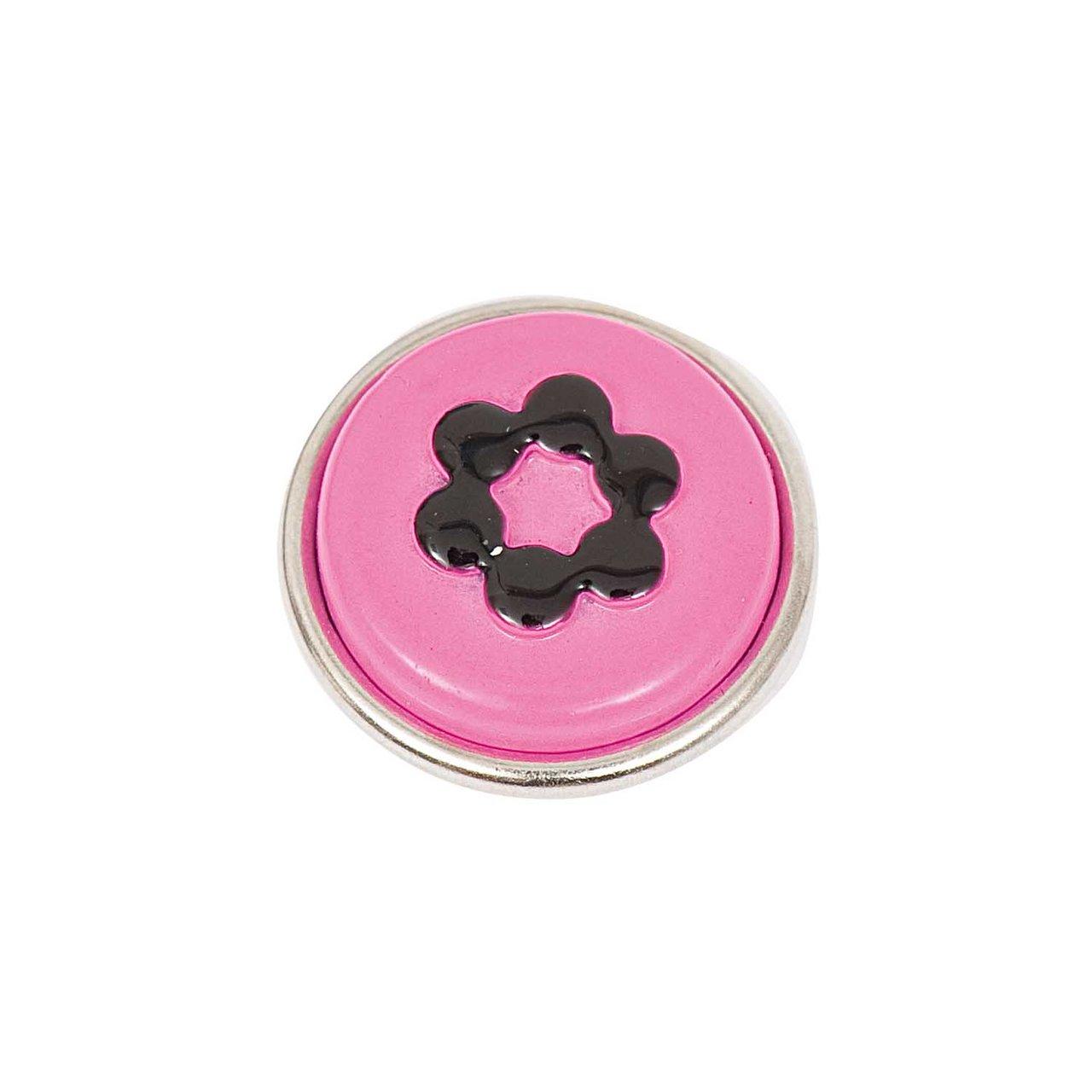 Rico Design Knopf Blume pink-schwarz 14mm