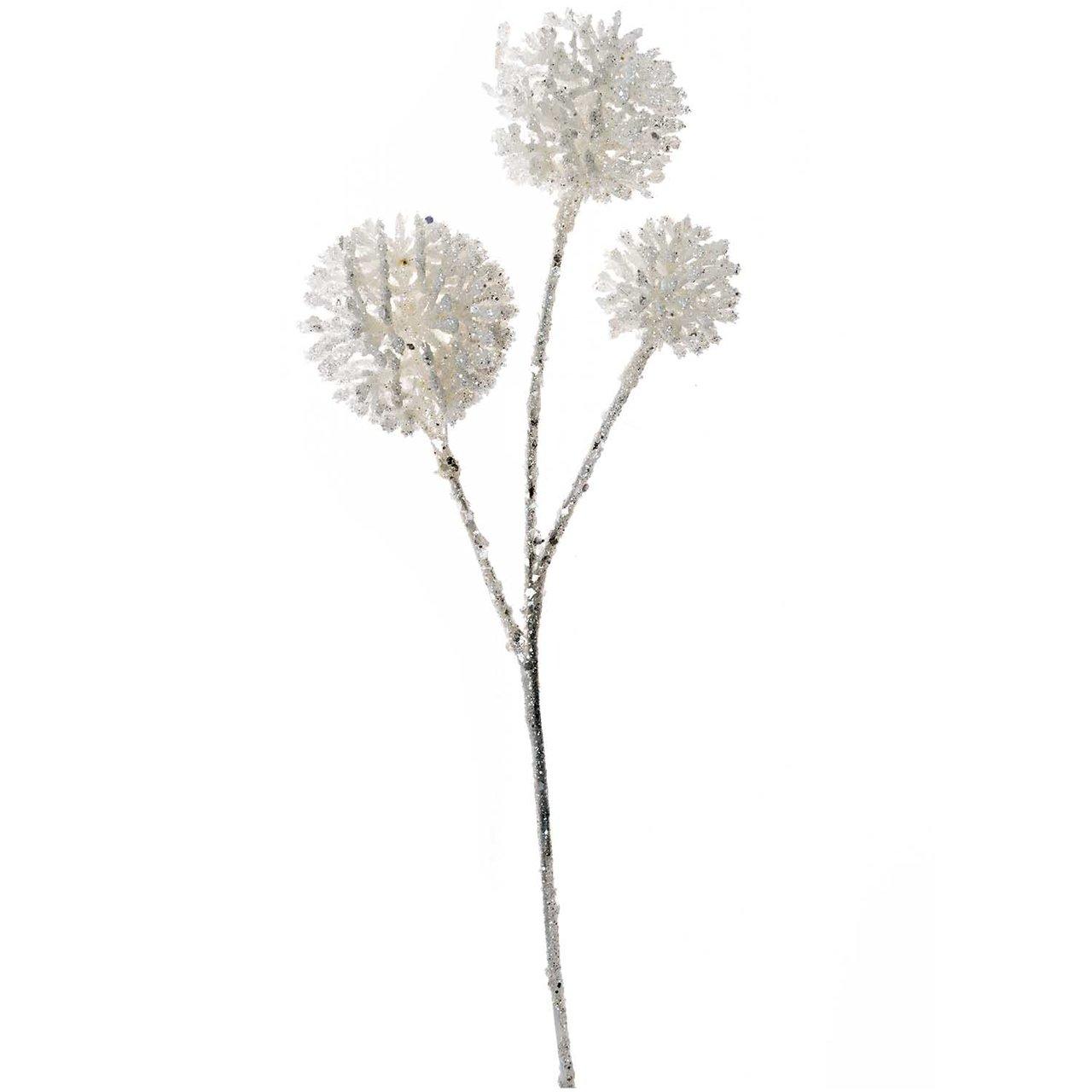 Pom Pom Zweig mit Glitter weiß 30cm