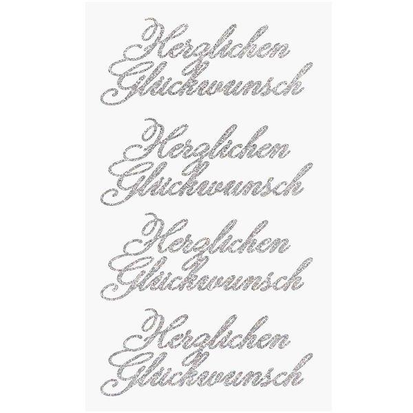 Paper Poetry Glittersticker Herzlichen Glückwunsch silber