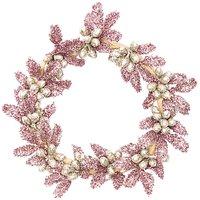 Kranz mit Beeren-Blättern rosé-Glitter 10cm
