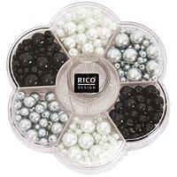 Rico Design Renaissance Perlenset schwarz-weiß  Mix