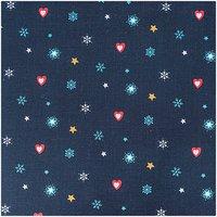 Rico Design Stoff Weihnachten Herzen und Sterne blau 50x160cm