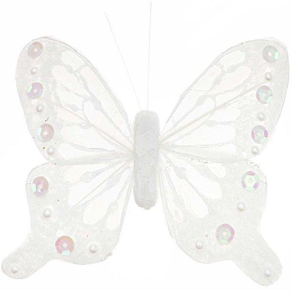 Schmetterling mit Clip weiß 11cm