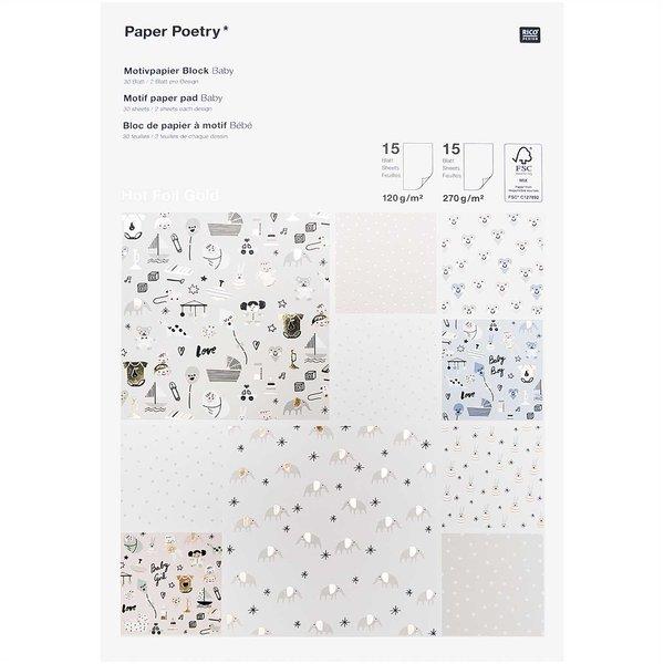 Paper Poetry Motivpapierblock Hello Baby 30 Blatt