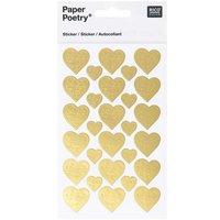 Paper Poetry Sticker verzierte Herzen gold
