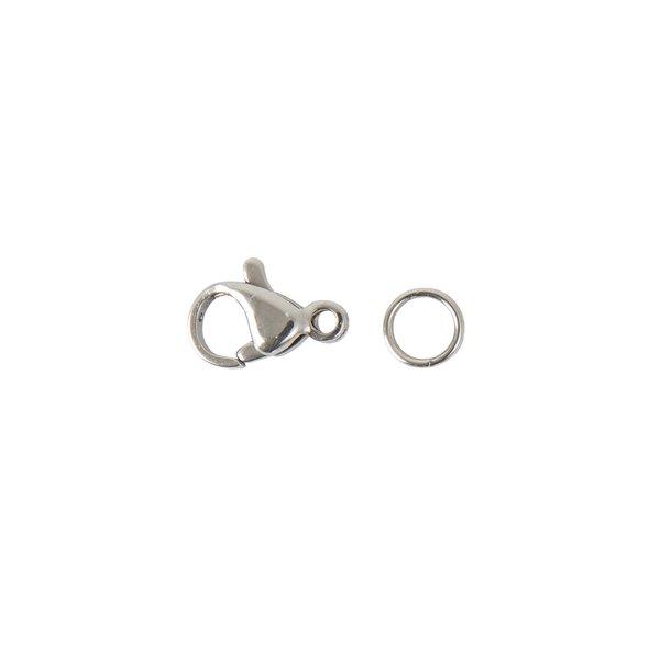 Jewellery Made by Me Karabiner mit 2 Federringen silber 12mm
